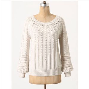Anthro Guinevere Purl-Wise Pullover Sweater